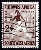 Postage stamp South West Africa 1987 Rock Painting of White Lady — Stock Photo