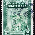 Постер, плакат: Postage stamp Guatemala 1949 Bartolome de las Casas and Indian
