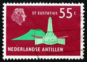 Postage stamp Netherlands Antilles 1973 De Ruyter Obelisk — Stock Photo