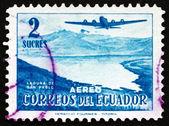 Lagune de san pablo timbre-poste equateur 1954 — Photo