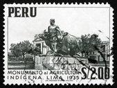 Postage stamp Peru 1960 Monument to Native Farmer, Lima — Stock Photo