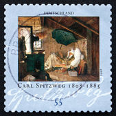 Postage stamp Germany 1979 The Poor Poet, by Carl Spitzweg — Stock Photo