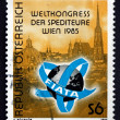 Postage stamp Austria 1985 View of Vienna — Stock Photo