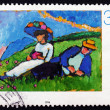 Postage stamp Germany 1994 Couple Lying on Grass — Stock Photo
