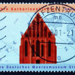 Postage stamp Germany 2001 St. Catherine's Monastery and Map — Stock Photo