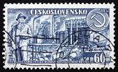 Frimärke tjeckoslovakien 1957 arbetare, fabriken, hammare och si — Stockfoto