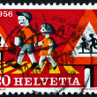 Postage stamp Switzerland 1956 Children Crossing Street — Stock Photo #37880567