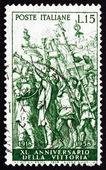 Postage stamp Italy 1958 Triumph of Caesar, by Montegna — Stock Photo