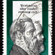 Постер, плакат: Postage stamp GDR 1970 Friedrich Engels and Karl Marx