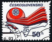 Briefmarke tschechoslowakei 1983 emblem und flugzeuge — Stockfoto