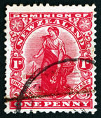 Postage stamp New Zealand 1909 Commerce, Allegory — Stock Photo