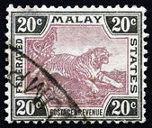 Postage stamp Malaya 1905 Tiger, Panthera Tigris, Animal — Stock Photo