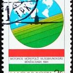 Постер, плакат: Postage stamp Hungary 1984 Plane and map