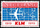 Postage stamp Netherlands 1959 Douglas DC-8 and World Map — Stock Photo