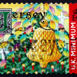 Stok fotoğraf: Postage stamp Jersey 2001 Christmas Tree with Candles