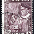 Postage stamp Malaya 1960 Tiger — Stock Photo