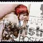 Postage stamp GB 1984 Shepherd and Lamb — Stock Photo