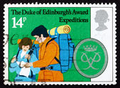 Postage stamp GB 1981 Hikers Reading Map — Stock Photo