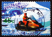 Postage stamp Australia 1998 Snowmobile — Stock Photo