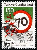Postage stamp Turkey 1987 Observe Speed Limit — Stock Photo