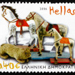 Postage stamp Greece 2006 Horses on Wheels, Toy — Stock Photo