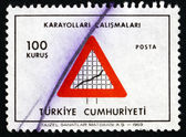 Postage stamp Turkey 1969 Road Sign, Highway Construction — Stock Photo