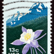 Postage stamp USA 1977 Columbine and Rocky Mountains — Stock Photo