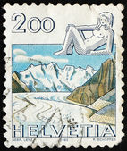Postage stamp Switzerland 1983 Virgo, Jungfrau Monch Eiger Mount — Stock Photo