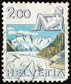 Postage stamp Switzerland 1983 Virgo, Jungfrau Monch Eiger Mount — Stock Photo