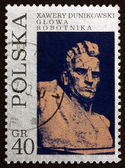 Postage stamp Poland 1971 Worker, by Xawery Dunikowski — Stock Photo