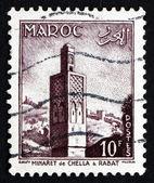 Postage stamp Morocco 1955 Minaret de Chellah, Rabat — Stock Photo