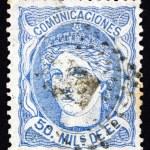 Postage stamp Spain 1870 Allegory of Hispania — Stock Photo