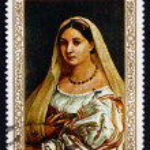 Постер, плакат: Postage stamp Yemen 1968 Woman with a Veil by Raphael