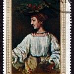 Постер, плакат: Postage stamp Yemen 1968 Portrait of Hendrickje Stoffels by Rem