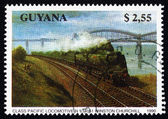 Postage stamp Guyana 1990 Class Pacific, Locomotive — Stock Photo