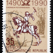 Stock Photo: Postage stamp GDR 1990 Young Post Rider