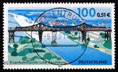 почтовая марка германии 2001 рендсбург железнодорожный мост — Стоковое фото