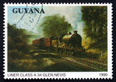 Postage stamp Guyana 1990 Liner Class A34, Locomotive — Stock Photo