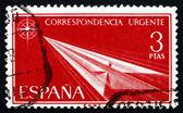 Postzegel spanje 1956 vlucht, papieren vliegtuigje — Stockfoto