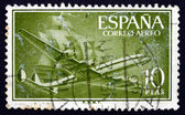 Postage stamp Spain 1956 Plane and Caravel — Stock Photo