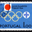 Postage stamp Portugal 1964 Olympic Rings and Emblems — Stock Photo