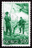 Postage stamp Norway 1984 Salmon Fishing — Stock Photo