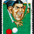 Stock Photo: Postage stamp Australi1981 Walter Lindrum, Billiards Player