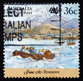 Postage stamp Australia 1987 First Fleet at Tenerife — Stock Photo