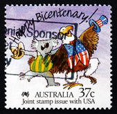 Postage stamp Australia 1988 Caricature of Koala and Bald Eagle — Stock Photo