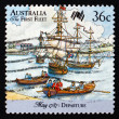 Postage stamp Australi1987 First Fleet in Portsmouth Harbor — Stock Photo #40790657