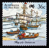 Postage stamp Australia 1987 First Fleet in Portsmouth Harbor — Stock Photo