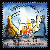Postage stamp Australia 1988 Koala and Kiwi, Caricature — Stock Photo