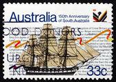 Briefmarke australien 1986 segelschiff buffalo — Stockfoto