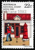 Postage stamp Australia 1980 Mailman and Mailbox, c. 1900 — Stock Photo
